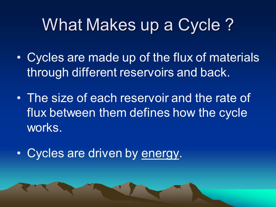 The Carbon Cycle Reservoirs –Atmospheric carbon dioxide –Oceanic –Biotic carbon –Soils and Sediments –Fossil fuels (coal, oil and gas) –Sedimentary rock Fluxes Energy