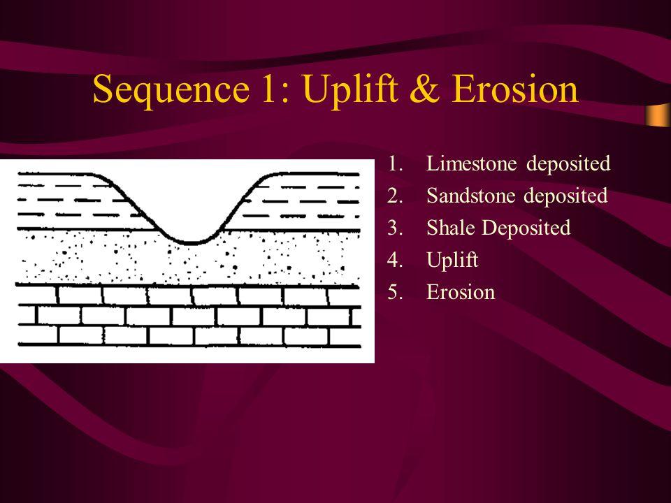 Sequence 1: Uplift & Erosion 1.Limestone deposited 2.Sandstone deposited 3.Shale Deposited 4.Uplift 5.Erosion