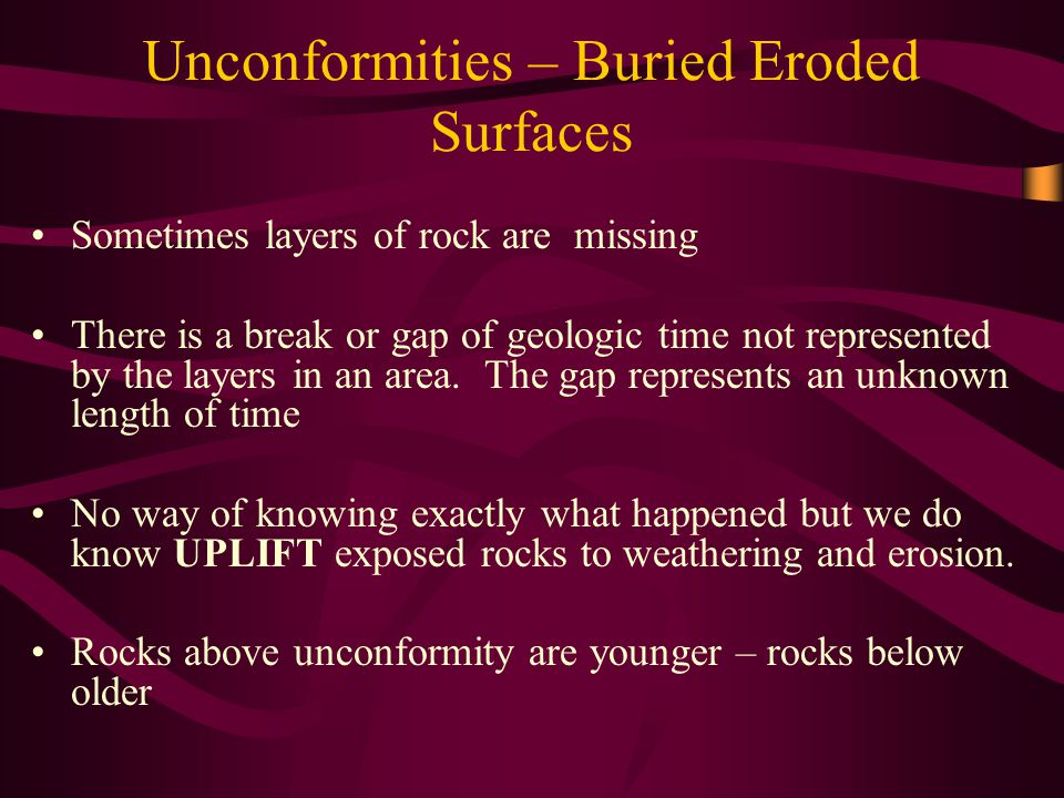 Unconformities – Buried Eroded Surfaces Sometimes layers of rock are missing There is a break or gap of geologic time not represented by the layers in