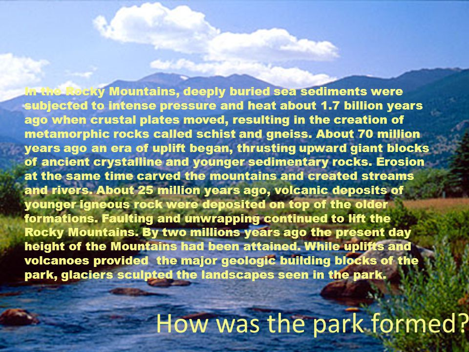 How was the park formed.