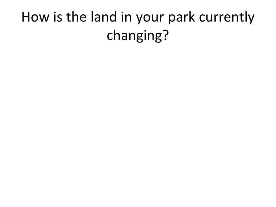 How is the land in your park currently changing?