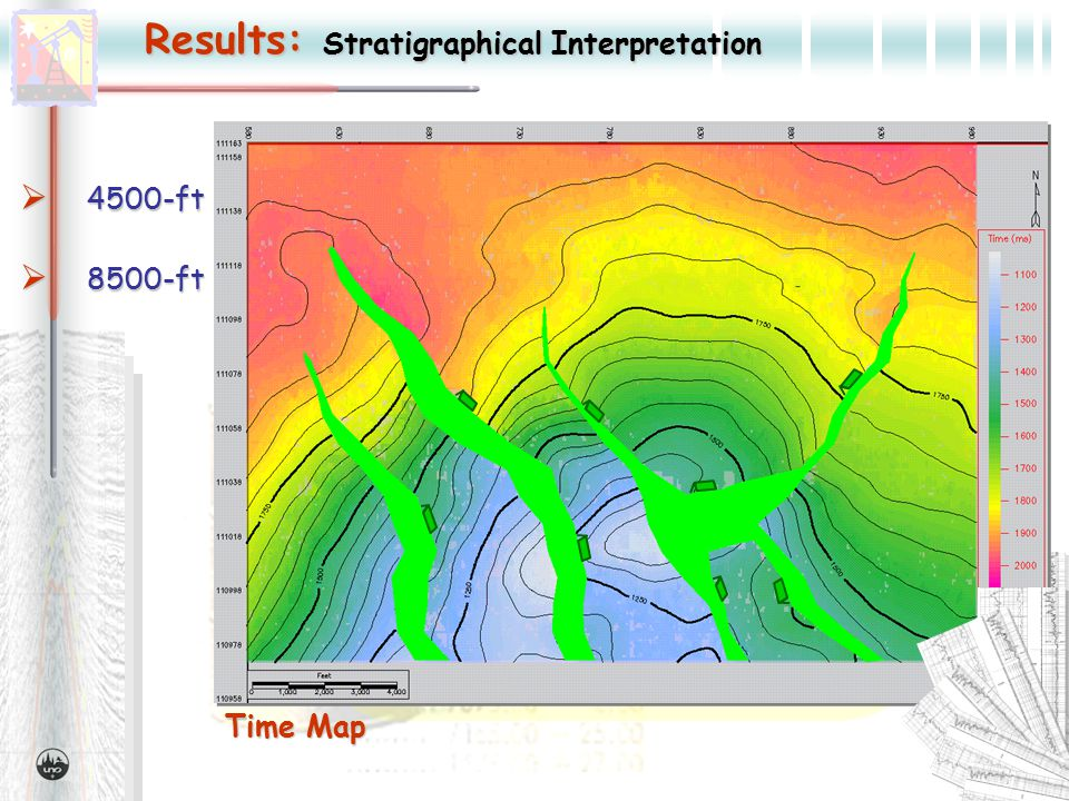Time Map Results: Stratigraphical Interpretation  4500-ft  8500-ft