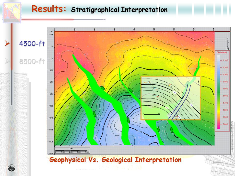 Results: Stratigraphical Interpretation  4500-ft  8500-ft Geophysical Vs.