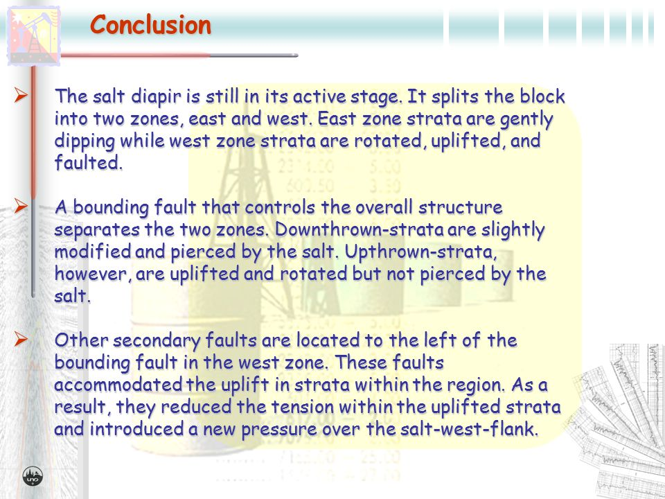 Conclusion  The salt diapir is still in its active stage.