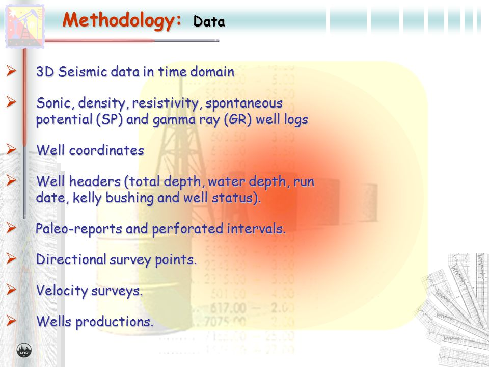 Methodology: Data  3D Seismic data in time domain  Sonic, density, resistivity, spontaneous potential (SP) and gamma ray (GR) well logs  Well coordinates  Well headers (total depth, water depth, run date, kelly bushing and well status).