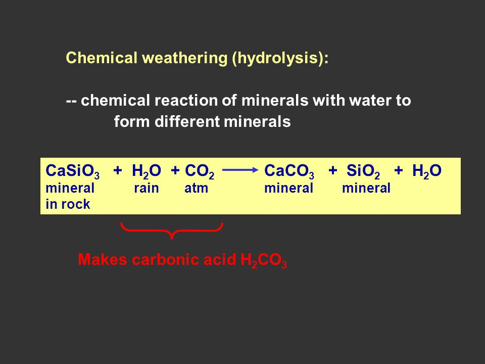 Chemical weathering (hydrolysis): -- chemical reaction of minerals with water to form different minerals CaSiO 3 + H 2 O + CO 2 CaCO 3 + SiO 2 + H 2 O