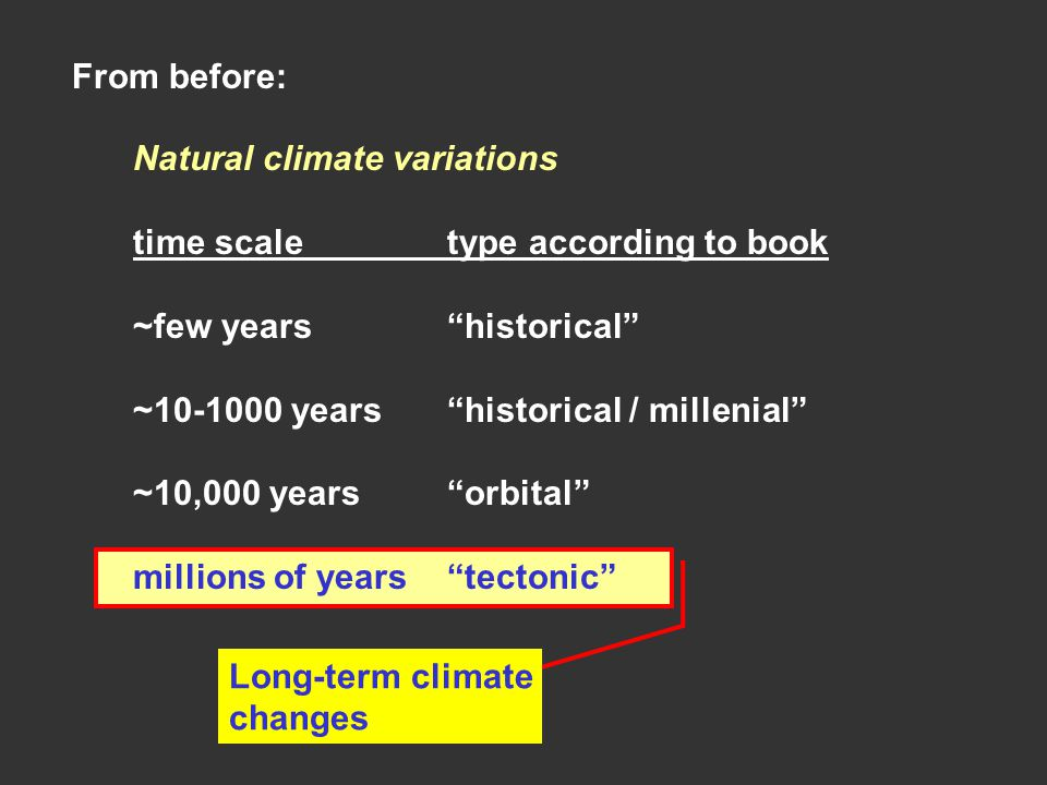 """From before: Natural climate variations time scaletype according to book ~few years""""historical"""" ~10-1000 years""""historical / millenial"""" ~10,000 years""""o"""