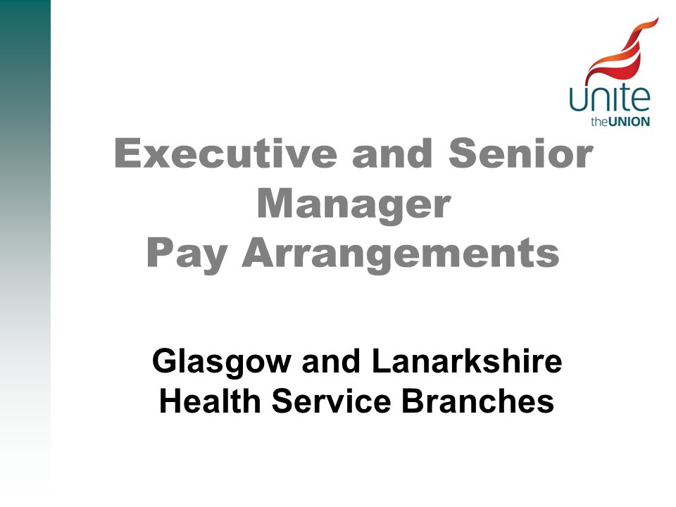 Executive and Senior Manager Pay Arrangements Glasgow and Lanarkshire Health Service Branches