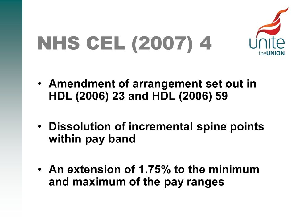 NHS CEL (2007) 4 Amendment of arrangement set out in HDL (2006) 23 and HDL (2006) 59 Dissolution of incremental spine points within pay band An extension of 1.75% to the minimum and maximum of the pay ranges