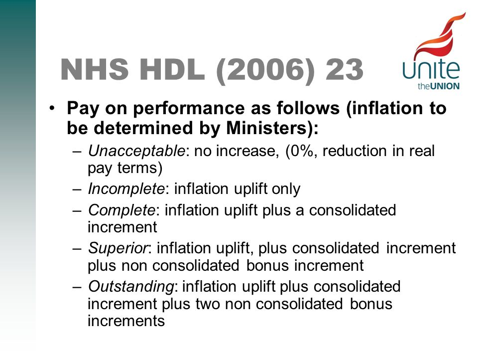 NHS HDL (2006) 23 Pay on performance as follows (inflation to be determined by Ministers): –Unacceptable: no increase, (0%, reduction in real pay terms) –Incomplete: inflation uplift only –Complete: inflation uplift plus a consolidated increment –Superior: inflation uplift, plus consolidated increment plus non consolidated bonus increment –Outstanding: inflation uplift plus consolidated increment plus two non consolidated bonus increments