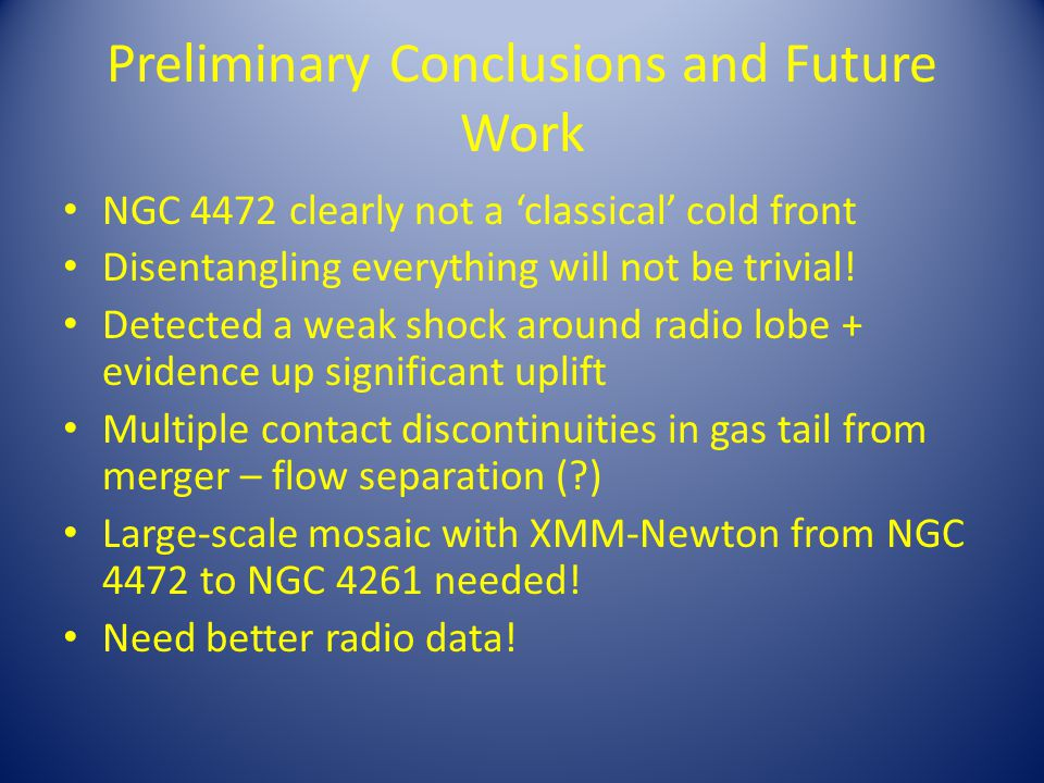 Preliminary Conclusions and Future Work NGC 4472 clearly not a 'classical' cold front Disentangling everything will not be trivial.