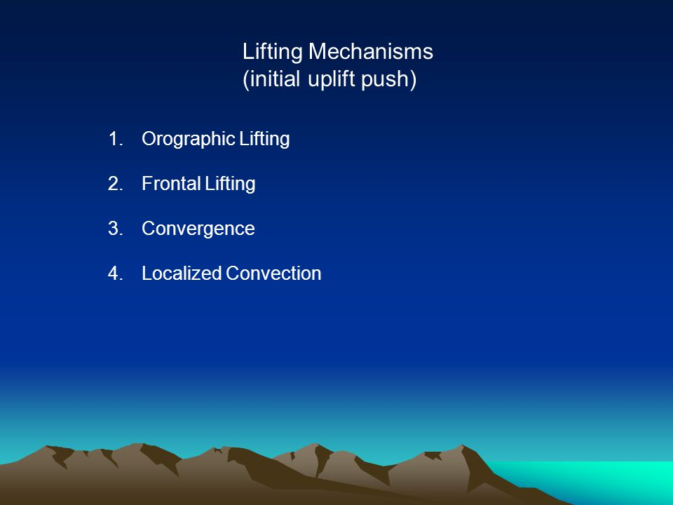 Lifting Mechanisms (initial uplift push) 1.Orographic Lifting 2.Frontal Lifting 3.Convergence 4.Localized Convection