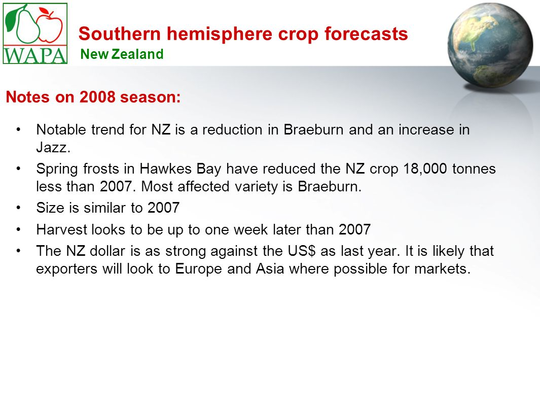 Southern hemisphere crop forecasts Notable trend for NZ is a reduction in Braeburn and an increase in Jazz.