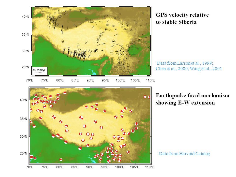 GPS velocity relative to stable Siberia Data from Larson et al., 1999; Chen et al., 2000; Wang et al., 2001 Earthquake focal mechanism showing E-W ext