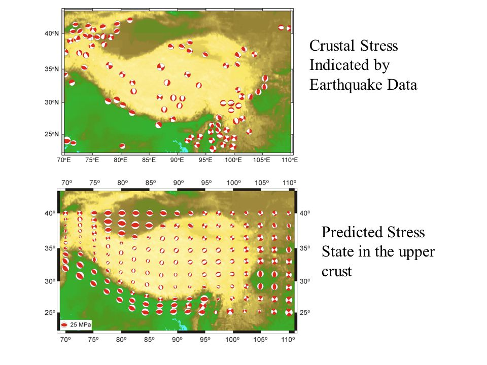 If lithostatic stress condition was applied at the south China block, strike-slip would be promoted and the elevation in the eastern Tibetan plateau should be 1 km lower, velocity higher, slop steeper.