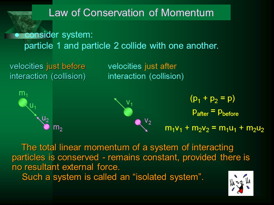 Law of Conservation of Momentum ● consider system: particle 1 and particle 2 collide with one another.