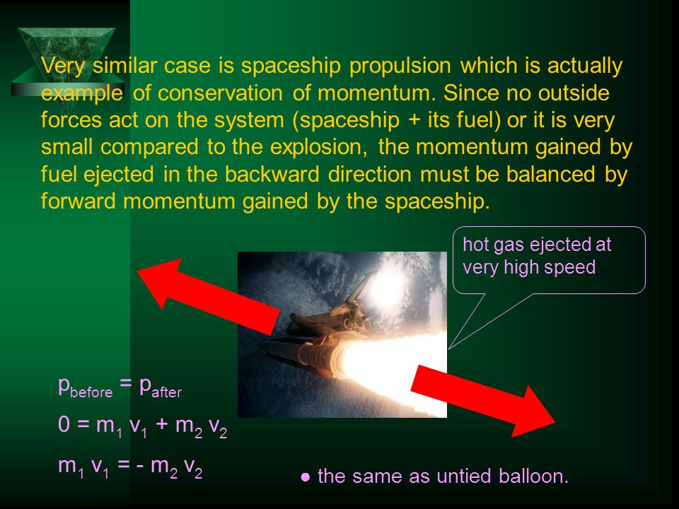 Very similar case is spaceship propulsion which is actually example of conservation of momentum.