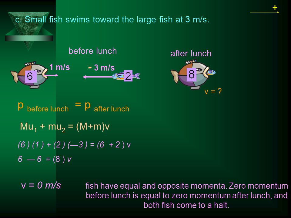 p before lunch = p after lunch + Mu 1 + mu 2 = (M+m)v 1 m/s before lunch after lunch v = 0 m/s v = .
