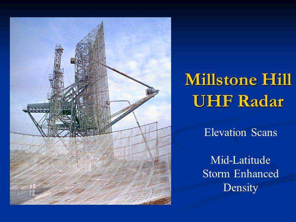 Millstone Hill UHF Radar Elevation Scans Mid-Latitude Storm Enhanced Density