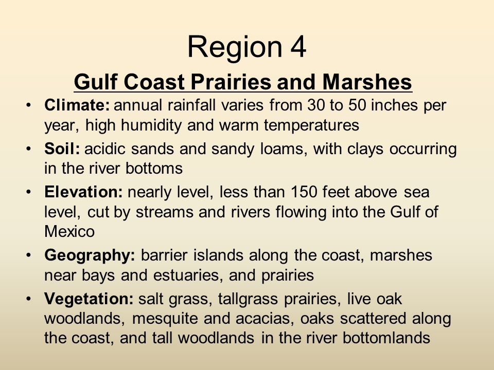 Region 4 Gulf Coast Prairies and Marshes Climate: annual rainfall varies from 30 to 50 inches per year, high humidity and warm temperatures Soil: acid