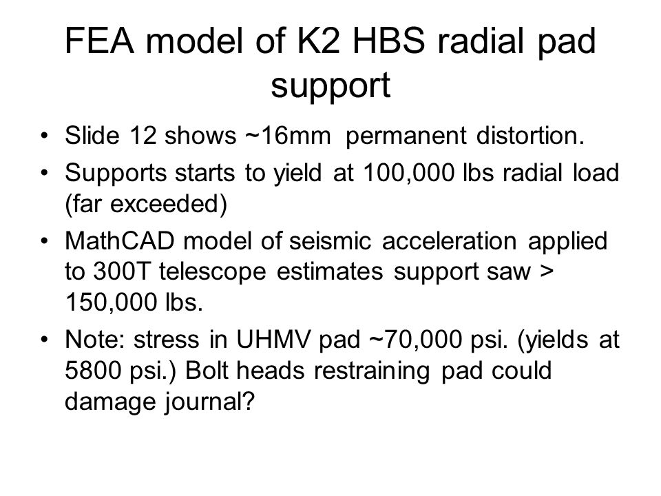 FEA model of K2 HBS radial pad support Slide 12 shows ~16mm permanent distortion.