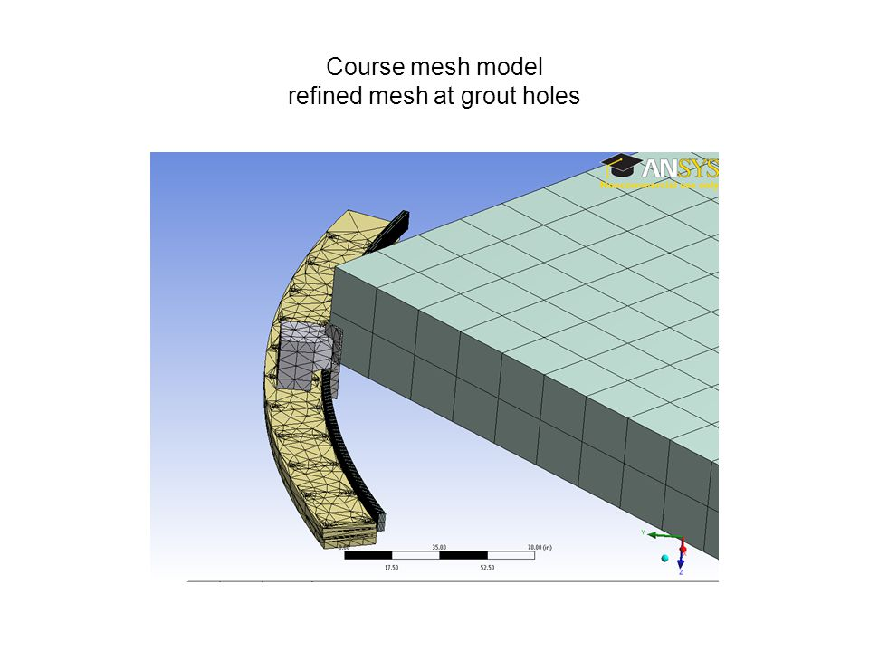 Course mesh model refined mesh at grout holes