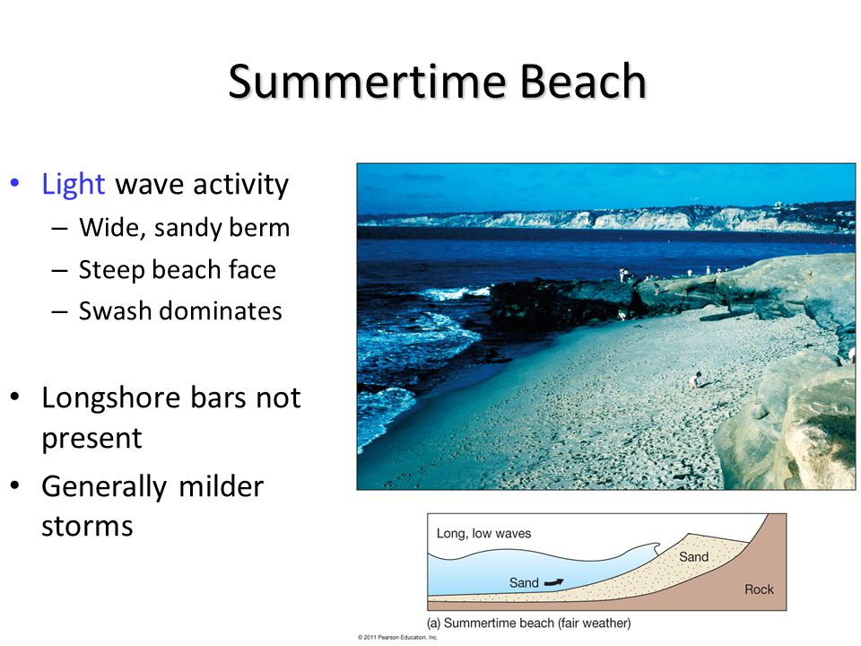 Summertime Beach Light wave activity – Wide, sandy berm – Steep beach face – Swash dominates Longshore bars not present Generally milder storms