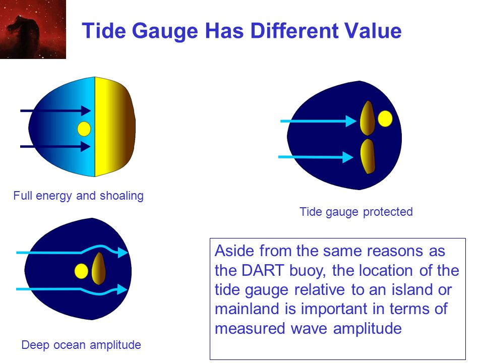 Tide Gauge Has Different Value Tide gauge protected Aside from the same reasons as the DART buoy, the location of the tide gauge relative to an island or mainland is important in terms of measured wave amplitude Full energy and shoaling Deep ocean amplitude