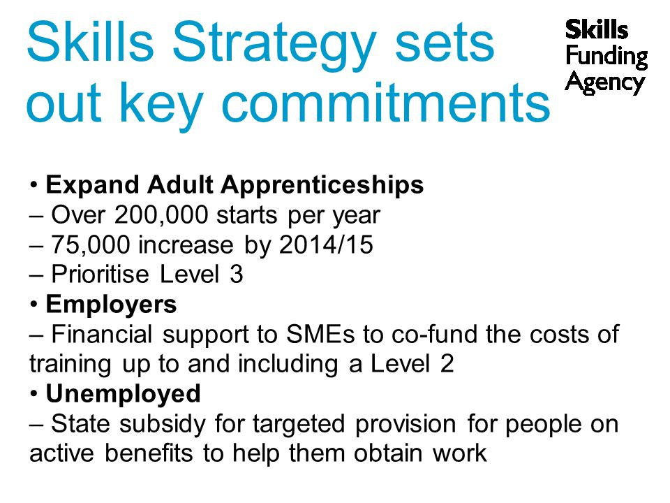 Skills Strategy sets out key commitments Expand Adult Apprenticeships – Over 200,000 starts per year – 75,000 increase by 2014/15 – Prioritise Level 3 Employers – Financial support to SMEs to co-fund the costs of training up to and including a Level 2 Unemployed – State subsidy for targeted provision for people on active benefits to help them obtain work