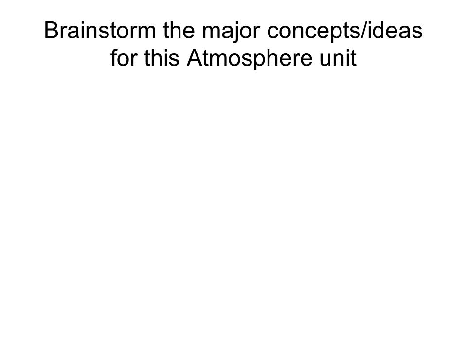 Brainstorm the major concepts/ideas for this Atmosphere unit