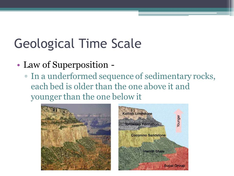 Geological Time Scale Law of Superposition - ▫In a underformed sequence of sedimentary rocks, each bed is older than the one above it and younger than the one below it
