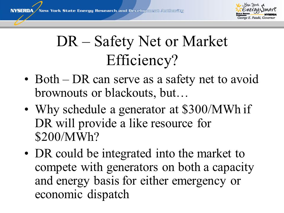 DR – Safety Net or Market Efficiency.
