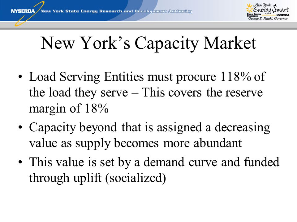 New York's Capacity Market Load Serving Entities must procure 118% of the load they serve – This covers the reserve margin of 18% Capacity beyond that is assigned a decreasing value as supply becomes more abundant This value is set by a demand curve and funded through uplift (socialized)