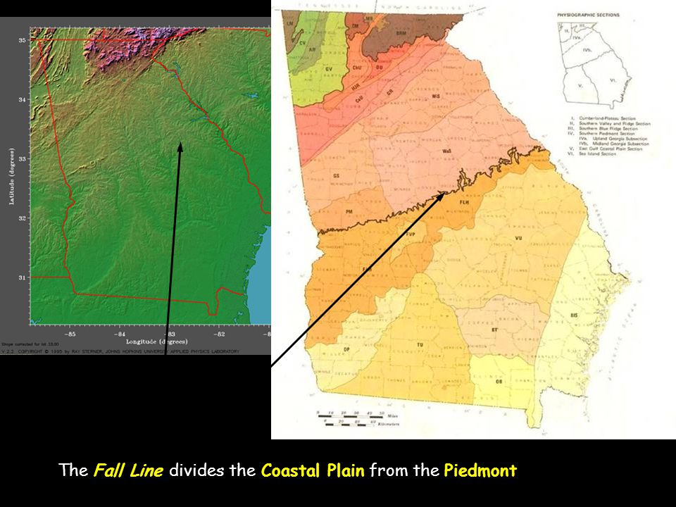 The Fall Line divides the Coastal Plain from the Piedmont