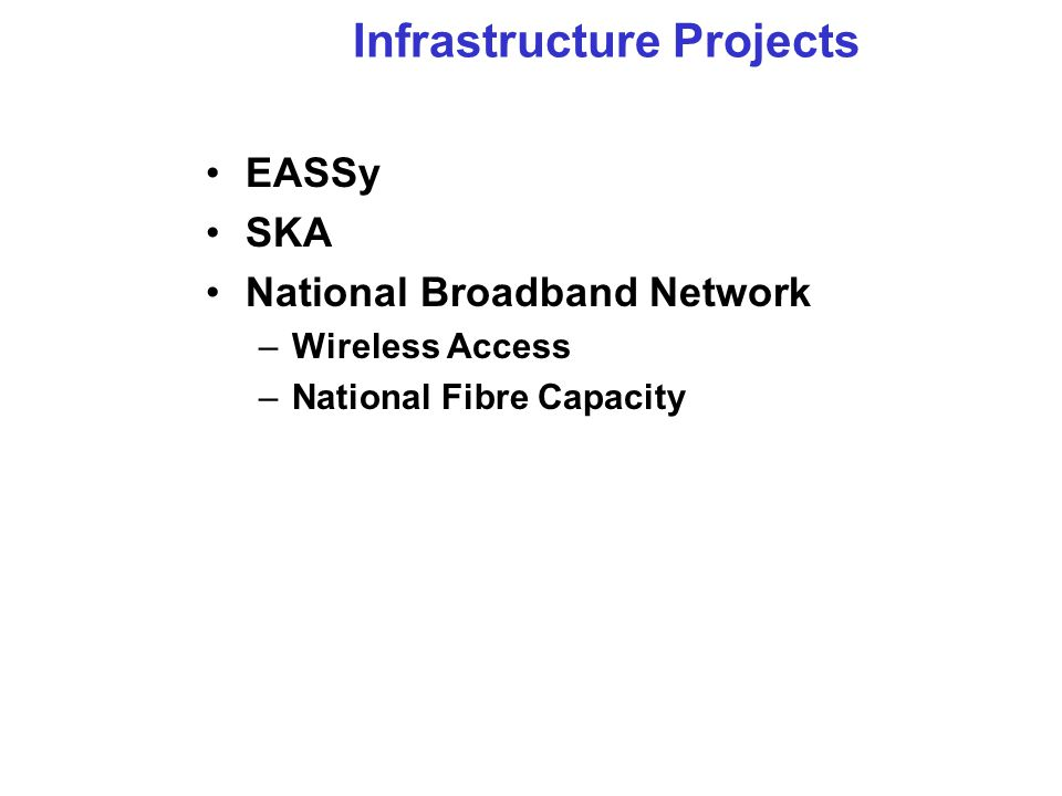 Infrastructure Projects EASSy SKA National Broadband Network –Wireless Access –National Fibre Capacity