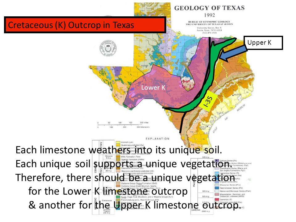 Cretaceous (K) Outcrop in Texas I-35 Lower K Upper K Each limestone weathers into its unique soil.