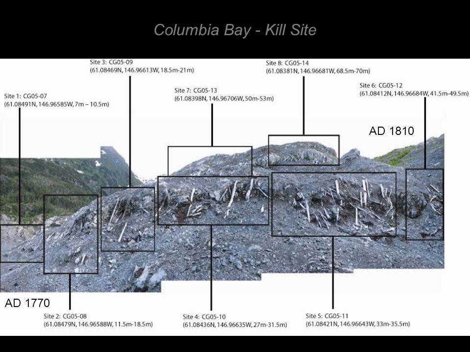 Columbia Bay - Kill Site AD 1770 AD 1810