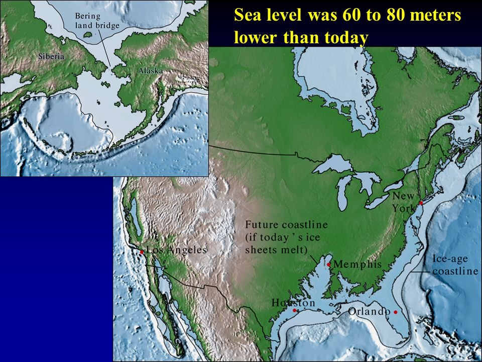 Sea level was 60 to 80 meters lower than today