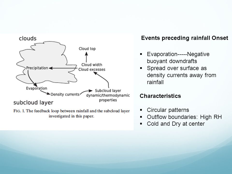 Events preceding rainfall Onset  Evaporation-----Negative buoyant downdrafts  Spread over surface as density currents away from rainfall Characteristics  Circular patterns  Outflow boundaries: High RH  Cold and Dry at center
