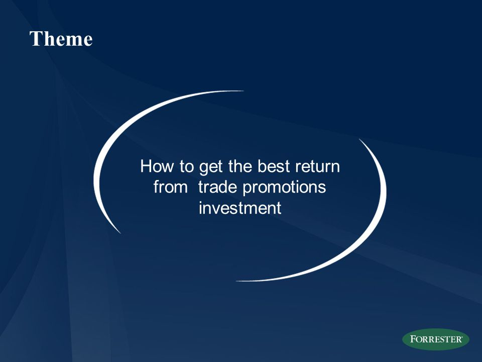 Theme How to get the best return from trade promotions investment