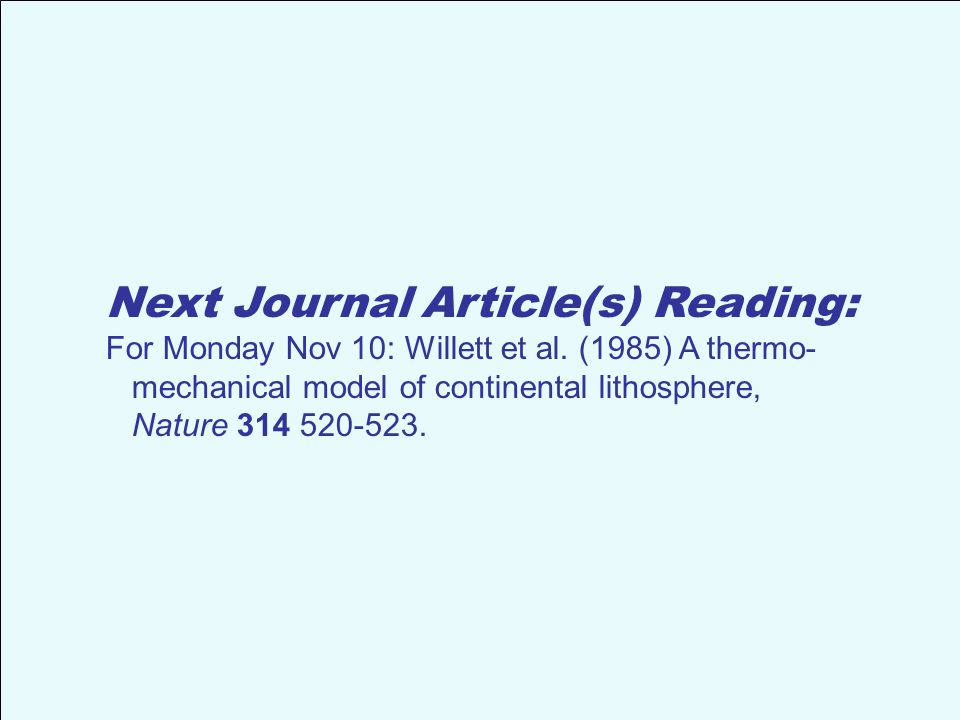 Next Journal Article(s) Reading: For Monday Nov 10: Willett et al.