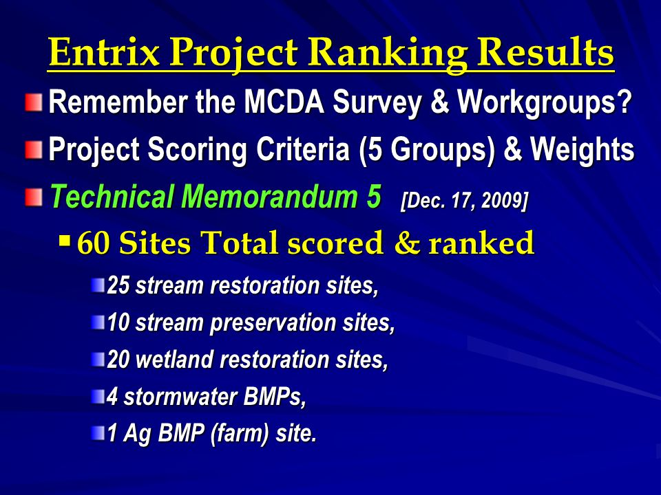 Entrix Project Ranking Results Remember the MCDA Survey & Workgroups? Project Scoring Criteria (5 Groups) & Weights Technical Memorandum 5 [Dec. 17, 2