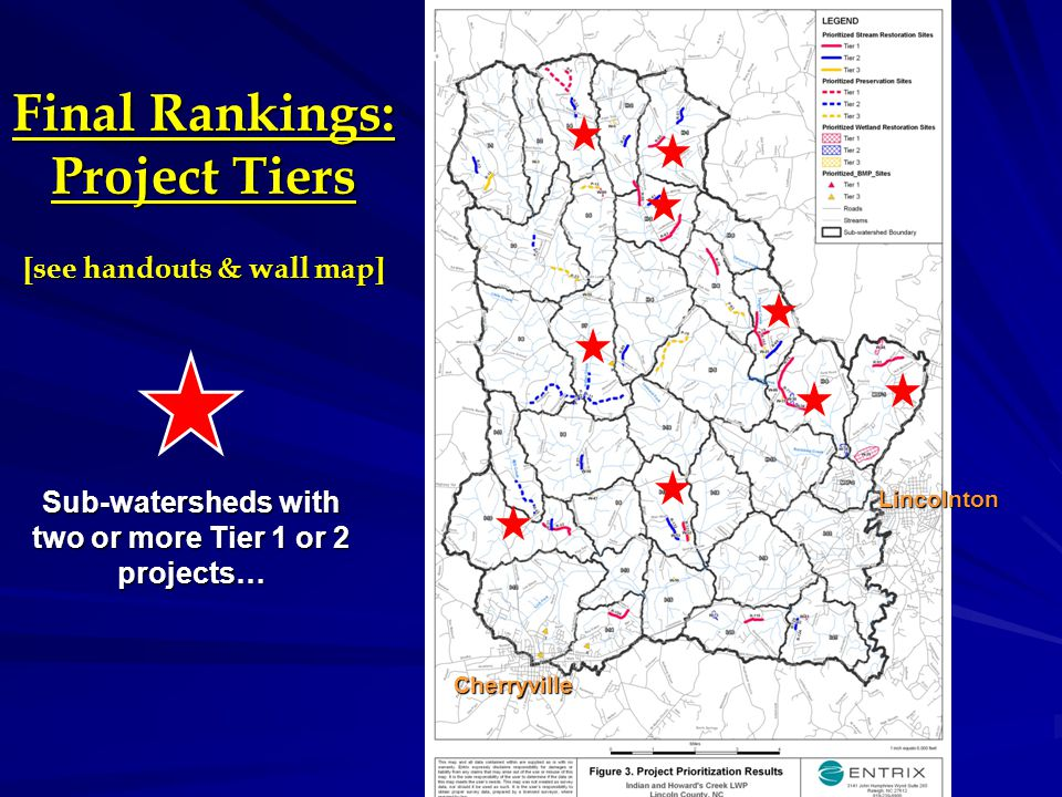 Recommended Areas to Focus Project Implementation Sub-watersheds with 2 or more Tier 1 or 2 projects (9 of 34) I-4, Upper Indian Creek I-7, Middle Indian Creek (including W.