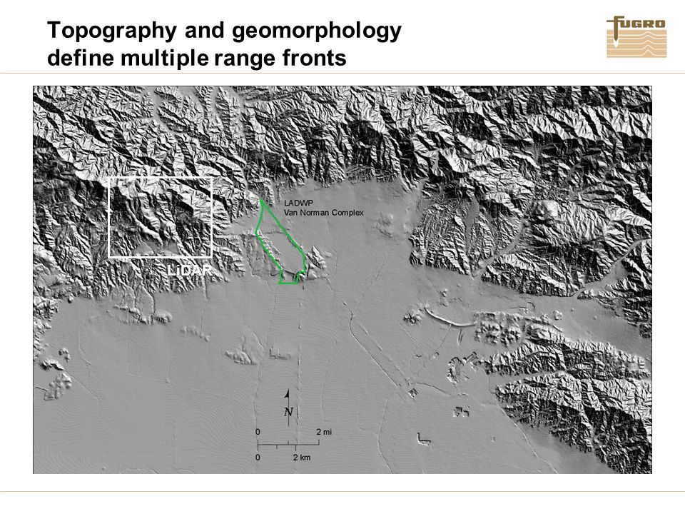 Topography and geomorphology define multiple range fronts LiDAR