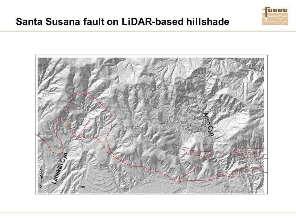 Santa Susana fault on LiDAR-based hillshade Aliso Cyn Limekiln Cyn