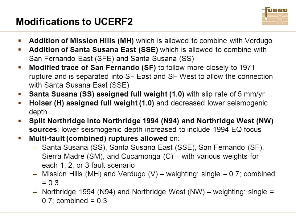Modifications to UCERF2  Addition of Mission Hills (MH) which is allowed to combine with Verdugo  Addition of Santa Susana East (SSE) which is allow