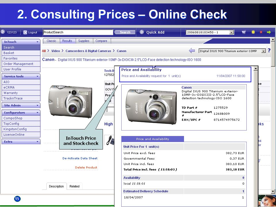 15 2. Consulting Prices – Online Check InTouch Price and Stock check