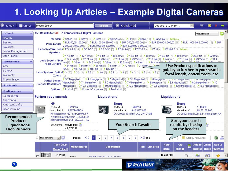 9 1. Looking Up Articles – Example Digital Cameras Recommended Products Liquidations High Runners Your Search Results Use Product specifications to gu