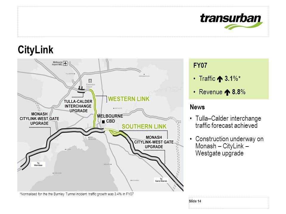 News Tulla–Calder interchange traffic forecast achieved Construction underway on Monash – CityLink – Westgate upgrade Slide 14 CityLink *Normalised fo