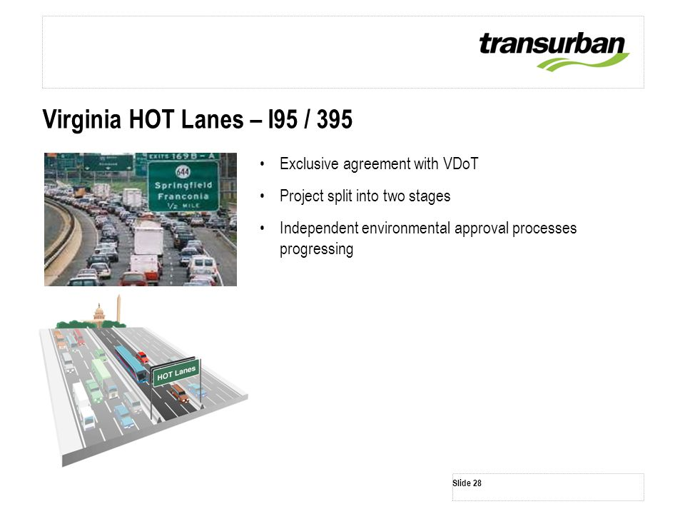 Slide 28 Virginia HOT Lanes – I95 / 395 Exclusive agreement with VDoT Project split into two stages Independent environmental approval processes progr